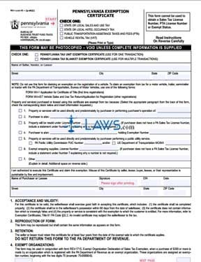 Form REV 1220 AS Exemption Certificate