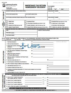 REV-1737-A Inheritance Tax Return Nonresident - Tax Forms - | Laws.com