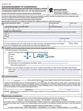Form DL-16LC Acknowledgement of Suspension/Revocation/Disqualification as Required Under Section 1541 of the Vehicle Code