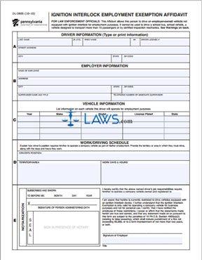 Form DL-3805 Ignition Interlock Employment Exemption Affidavit