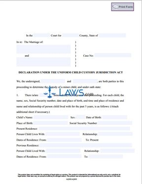 Form Declaration Under the Uniform Child Custody Jurisdiction Act