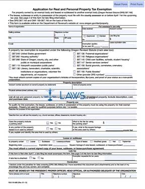 Form Application for Real and Personal Property Tax Exemption