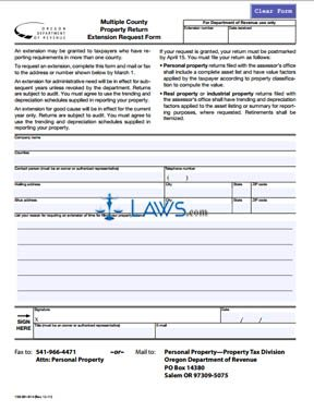 Form Multiple County Property Return Extension