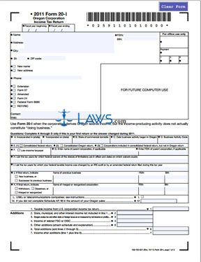Form 20-I Oregon Corporation Income Tax Return