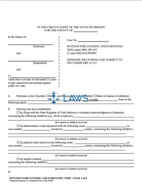 Form Petition For Child Custody and Child Support - Oregon Forms ...
