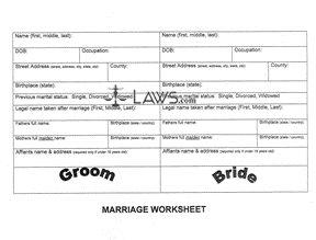 Form Marriage Worksheet (Oregon)