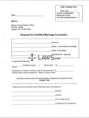 Form Request for Certified Marriage License