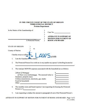 Form Affidavit in Support of Motion for Payment of Room and Board