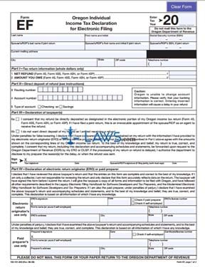 Form EF Individual Income Tax Declaration for Electronic Filing