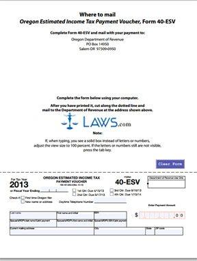Form 40 Esv Estimated Income Tax Payment Voucher Oregon
