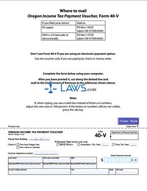 Form 40V Payment Voucher for Income Tax