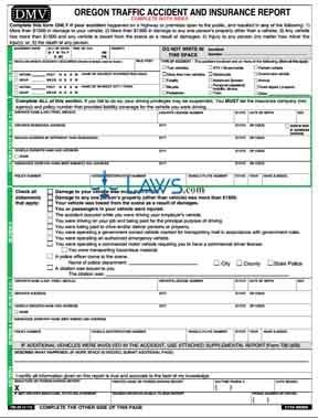 Form 32 Accident & Insurance Report, Oregon Traffic