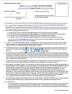 DUII Diversion Form 4: Petition for Entry of Plea,Waiver of Jury Trial,and Order (revised 10-1-09,fo