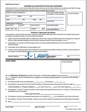 DUII Diversion Form 1: Uniform DUII Diversion Petition and Agreement (revised 1-1-08)