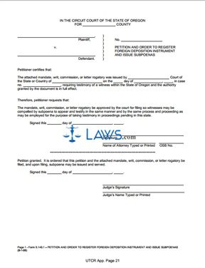 Peion and Order to Register Foreign Deposition Instrument and ... on deposition errata sheet form, sample notice of claim form, sample subpoena for deposition,
