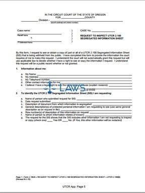 Request to Inspect UTCR 2.100 Segregated Information Sheet (rev. 8/1/10)