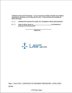 Certificate of Document Preparation