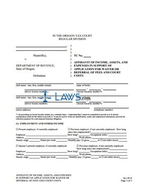 Application for Waiver or Deferral of Fee