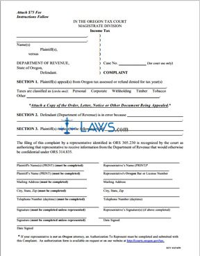 Complaint and Instructions to Appeal Income Tax