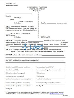 Complaint and Instructions to Appeal Property Tax