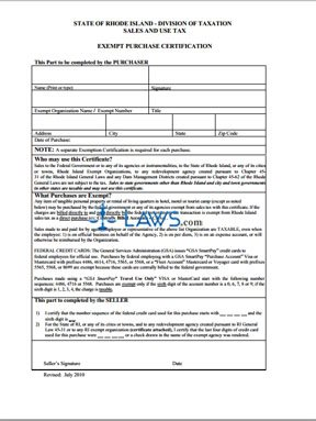 Form Sales and Use Tax Exempt Purchase Certificate