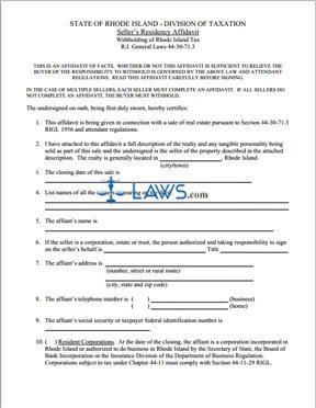 Form 7130 Seller's Residency Affidavit