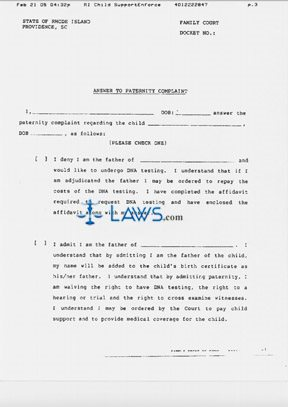 Form Answer To Paternity Complaint Rhode Island Forms