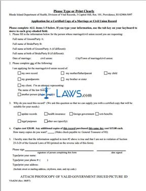 Form Marriage or Civil Union Certificate