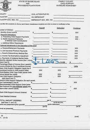 Form Family Court Guideline Worksheet Packet
