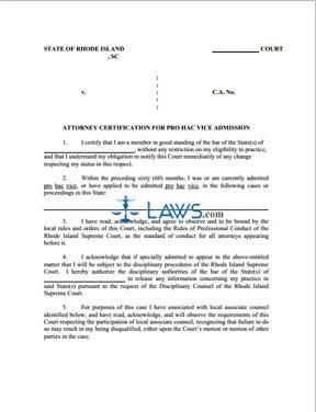 Attorney Certification