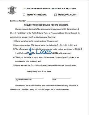 Application for Dismissal Good Driving Record
