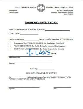 Appeals Proof for Service Form