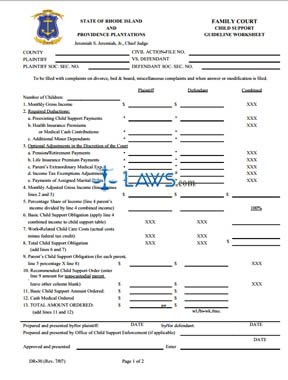 Child Support Guidelines Worksheet - Rhode Island Forms - | Laws.com
