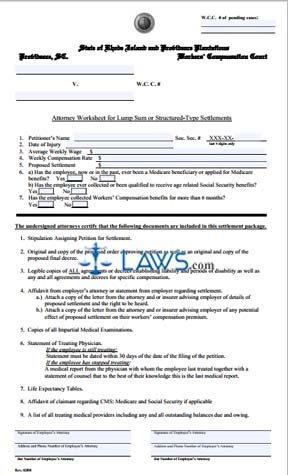 Settlement Worksheet
