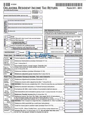 Form 511 Oklahoma Resident Income Tax Return and Sales Tax Relief Credit Form