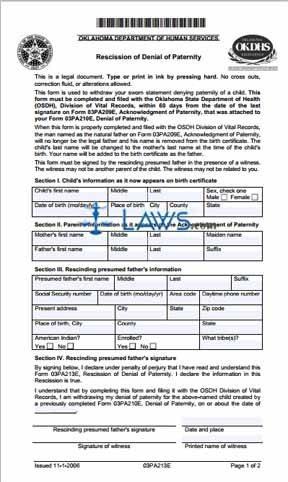 Form 03PA213E Recission of Denial of Paternity - Oklahoma Forms ...