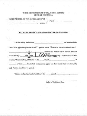 Form Notice of Petition for Appointment of Guardian - Oklahoma ...