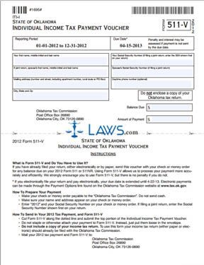 Form 511-V Income Tax Payment Voucher - Oklahoma Forms - | Laws.com