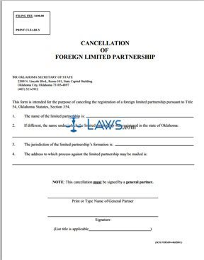 Cancellation of Foreign Limited Partnership