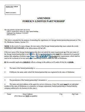 Amended/Cancellation of Foreign Limited Partnership