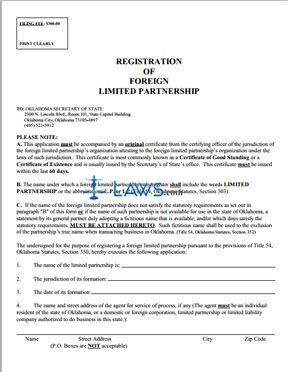 Registration of Foreign Limited Partnership