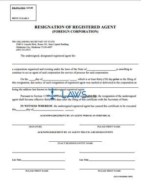 Resignation of Registered Agent