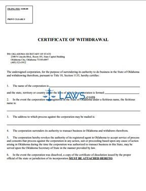 Certificate of Withdrawal