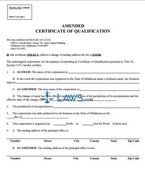 Amended Certificate of Qualification