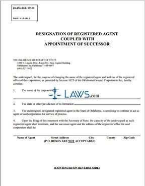 Resignation of Registered Agent Coupled with Appointment or Successor