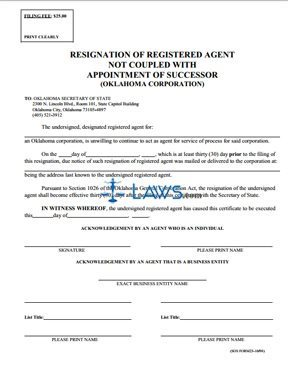 Resignation of Registered Agent NOT coupled with Appointment of Successor