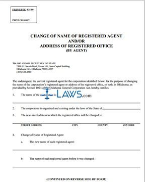 Change of Name of Registered Agent and/or Address of Registered Agent (by Agent)