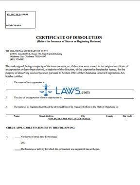 Certificate of Dissolution, before beginning business (profit)