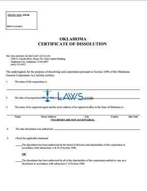 Certificate of Dissolution (profit)