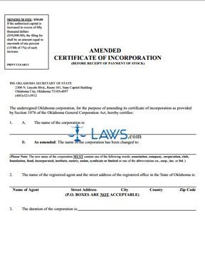 Amended Certificate of Incorporation, before receipt of stock (profit)